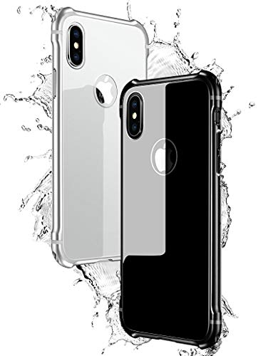 iPhone Xs Max Case KumWum Aluminum Bumper Frame Shockproof Scratch-Resistant Tempered Glass Back Cover for iPhone Xs Plus (iPhone Xs Max, Silver+White)