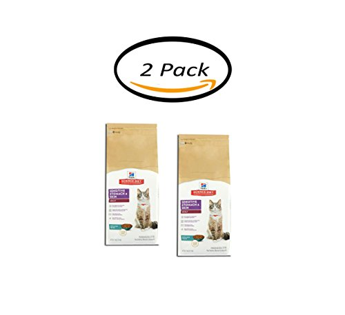 PACK OF 2 - Hill's Science Diet Adult Sensitive Stomach & Skin Rice & Egg Recipe Premium Natural Cat Food, 7 lb