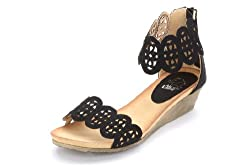 Alexis Leroy Women Hollowed-out Pattern Wedge Heel Sandal Black Size 7