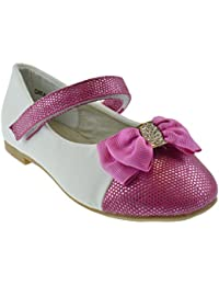 Cayla 02K Little Girls Rhinestone Bow Ballet Ballerina Flats Pink