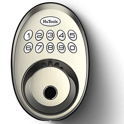 Fingerprint Keyless Entry Door Lock, HuTools Deadbolt Electronic Keypad Lock, Biometric Fingerprint Door Lock, Auto-Lock, 20 User Codes, Satin Nickel