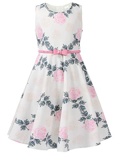 Bonny Billy Girls Sleeveless Vintage Floral Swing Party Dress Size 10-12 Floral Pink