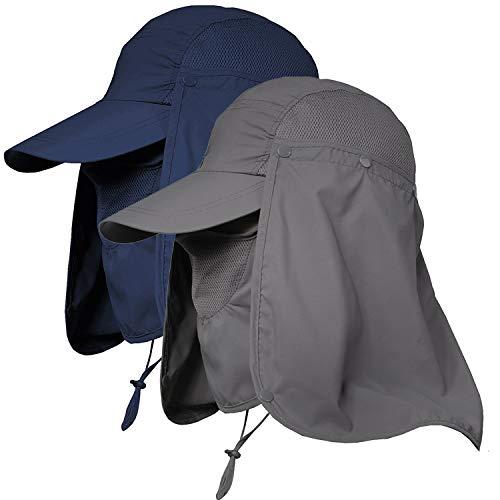 Jormatt Unisex UV Protection Outdoor Wide Brim Sun Hat UPF 50+ with Flap Neck Cover Foldable Fishing Safari Cap,Navy+Darkgrey