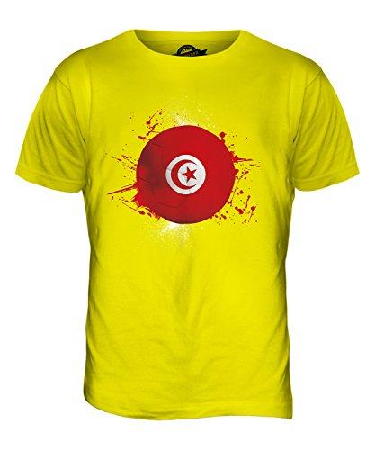CandyMix Tunisia Calcio T-Shirt da Uomo Maglietta Giallo Limone