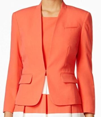 Collarless 3/4 Sleeve (Nine West Womens Taylor Collarless 3/4 Sleeve Blazer Pink 16)