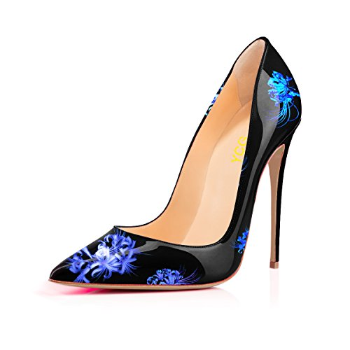 YCG Women's High Heels Pumps Blue Flower Printing Slip on Shoes US ()