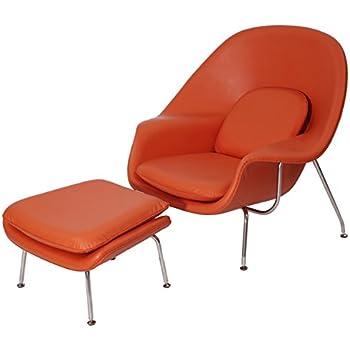 MLF Premium Version Eero Saarinen Womb Chair U0026 Ottoman. Italian Leather U0026  PU Foam.