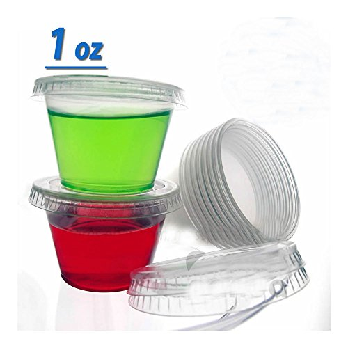 1oz Jello Jelly Shot Souffle Portion Cups with Lids Option, Clear Plastic (50 Cups with 50 Lids) from Unknown