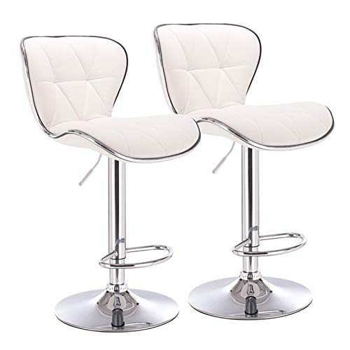 Pemberly Row Shell Back Adjustable Swivel Barstool in White, Quilted PU Leather Set of 2