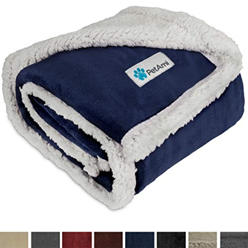 (PetAmi Premium Puppy Blanket | Pet Small Dog Blanket for Cats, Kitten | Soft, Warm, Plush, Reversible Fleece Sherpa Throw - 30x40 Inches Blue)