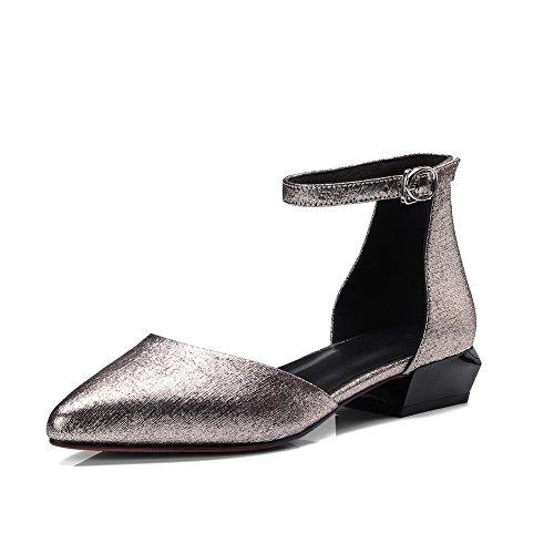 AdeeSu Womens Square Heels Metal Buckles Pointed-Toe Fabric Mary Jane Flats SLC03564 Gold