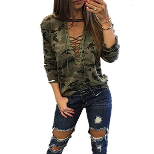 Luweki Fashion Women Long Sleeve Shirt Slim Casual Blouse Camouflage Print Tops (XL, Camouflage) (Sexy Camo Outfits)