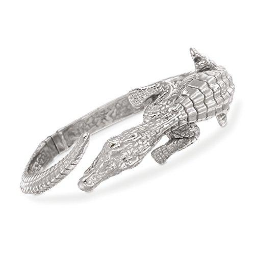 Ross-Simons Italian Sterling Silver Alligator Bypass Bangle Bracelet With (Sterling Silver Alligator)