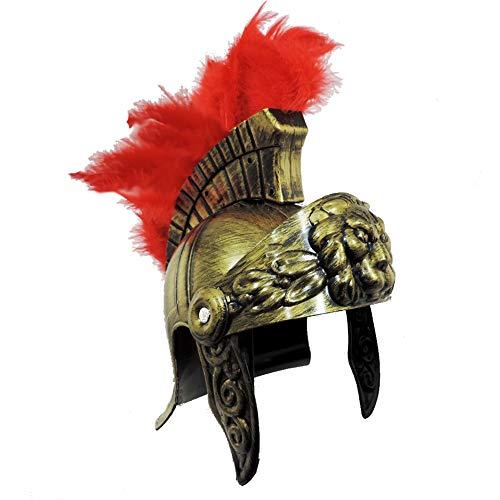 Roman Trojan Warrior Spartan Soldier Plastic Costume Helmet with Red Feather Crest -