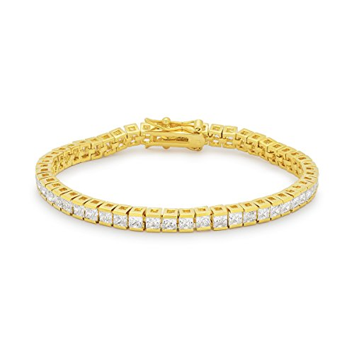 18k Gold Plated 7 Inch Tennis Bracelet with Princess Cut Clear Cubic Zirconia in a Channel Setting
