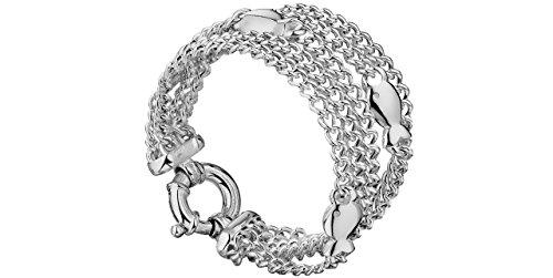 Clio Blue Bracelet multi-chaînes maille gourmette en argent 925, 51.8g