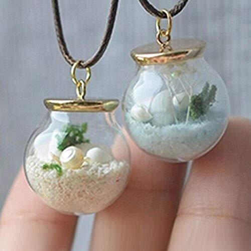 (2 Pcs 20MM Natural Beach In A Glass Sea Pendant Mini Vial Globe Bottle Tiny Round Ball Real Miniature Shell Pearl Starfish)