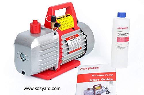 Kozyvacu 5CFM 2-Stage Rotary Vane Vacuum Pump (5.0CFM, 40Micron, 1/2HP) for HVAC/Auto AC Refrigerant Recharging, Degassing wine or epoxy, Milking cow or lamb, Medical, Food processing etc. by Kozyvacu (Image #2)
