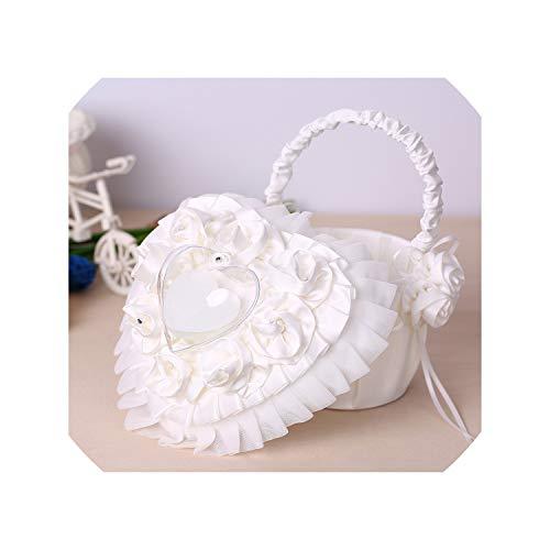 Wedding Decorations Heart Shape Ring Bearer Pillow Satin Flower Girl Basket Wedding Decoration Supplies Set from Suangu-flower baskets