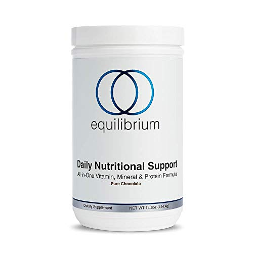 Equilibrium Nutrition-Once Daily Nutritional Support Protein Powder & Meal Replacement Chocolate Shakes. Includes Multivitamins, Minerals, Electrolytes, and Antioxidants, Organic, Dairy Free 14.6 oz