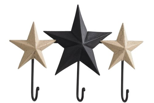 - Park Designs Blackstone Primitive Stars Triple Metal Hooks 12 Inch Wall Decor