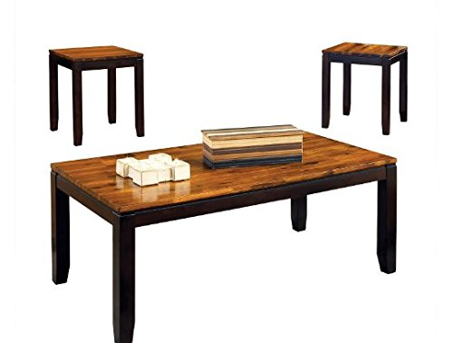 Occasional Tables 3-Piece Pierson Collection Acacia Wood in Oak Plank Finish with Walnut Accents