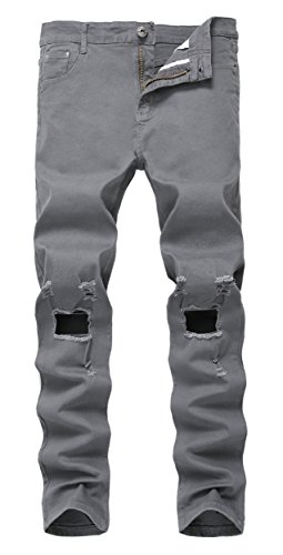 Men's Dark Grey Ripped Skinny Distressed Destroyed Slim Jeans Pants with Holes