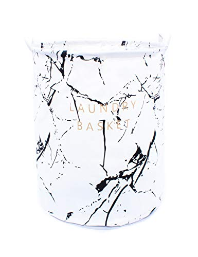 owhizz Laundry Basket with Handles Waterproof Canvas Large Storage Bin Foldable Organizer (15 Inch, White Marble Print) ()