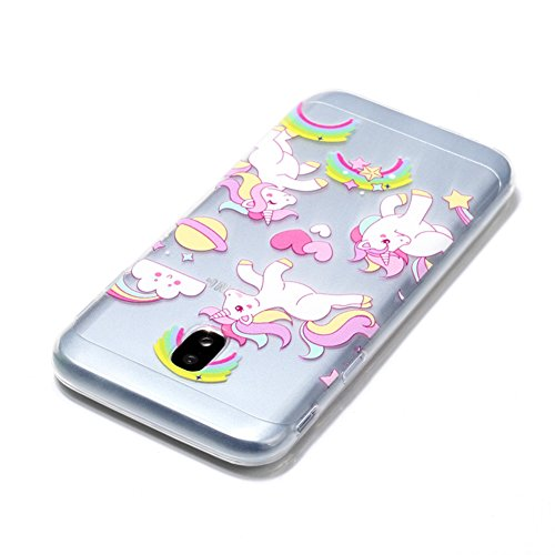 Funda Samsung Galaxy J7 (2017) J730F, Sunroyal [Anti-Scratch] [Anti-Scratch] Silicona Gel TPU Logo Creativo Clear Crystal Clear Bumper Suave Protección Ultra Delgada y Cable USB 3.3ft Micro USB Carga  Modelo 03