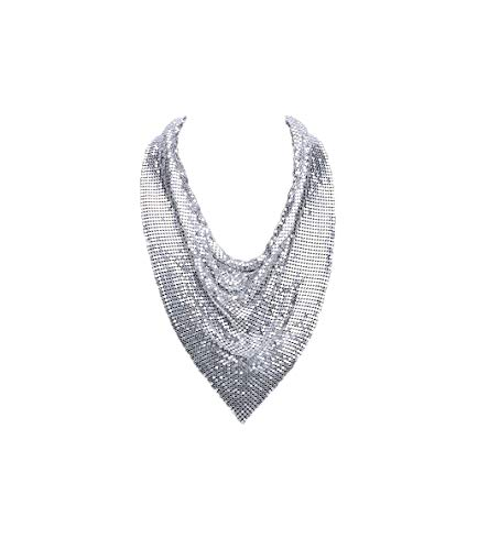 - Metal Mesh Scarf Necklace (Metal mesh Scarf Silver Collar)