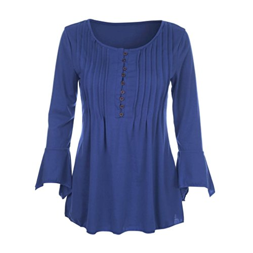 WM & MW Clearance Tunic Shirt,Women Tops Plus Szie 3/4 Flare Sleeve Sexy V Neck Buttons Slim Blouse Shirt