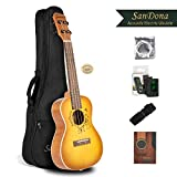SANDONA Acoustic Electric Concert Ukulele EQ 24 Inch Kit eUKCB-131 | Spruce Top Flamed Okoume Back and Side | Under-Saddle Pickup, Strap, Aquila Strings, Digital Tuner and Gig bag | Catcher in Rye