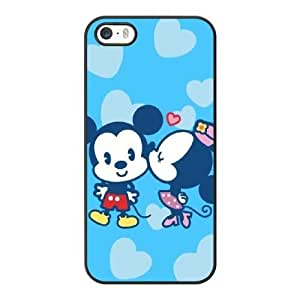 Grouden R Create and Design Phone Case, Mickey Mouse and Minnie Mouse Cell Phone Case for iPhone 5 5S SE Black + Tempered Glass Screen Protector (Free) LPC-8033801