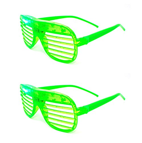 2 Green Flashing Retro LED Shutter Style Glasses Slotted for Adults and Kids Parties Party Events Raves Dance Clubs and Costume Parties Pink Green Blue Purple White Coloured Slotted Shades