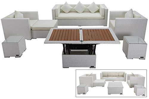 OUTFLEXX Exklusives XL Lounge-Set aus hochwertigem Polyrattan in weiß, 3-Sitzersofa, 2 Sessel, 1 Hocker, inkl. Kissenpolster, 2 kleine Beistelltische, 1 höhenverstellbarer Tisch, Kissenboxfunktion