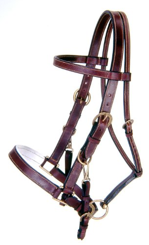 Tough 1 Australian Outrider Collection Leather Bridle/Halter, Brown