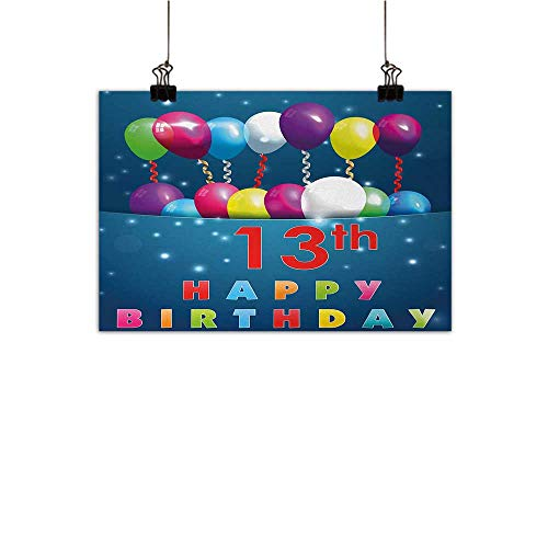 Anzhutwelve 13th Birthday Simulation Oil Painting Joyful Surprise Event Teen Celebration Party with Balloons Ribbons Stars Decorative Painted Sofa Background Wall Multicolor 47