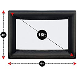 LifeSmart Inflatable Outdoor Projector Movie Screen – Portable Air blown 16 ft Diagonal Package – Huge Strong and Thick 600 DD Frame Built To Last With