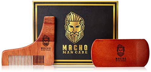 Premium Beard Brush & Comb Shaping Tool Set for Men's Care – Best Wooden Grooming Barber Quality Kit for mens Beards and Mustache Styling & Maintenance – Great Christmas Gift Macho Man Care