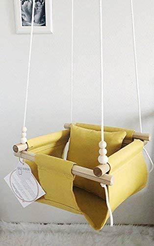 Indoor/Outdoor Mustard/Yellow Fabric Baby Swing
