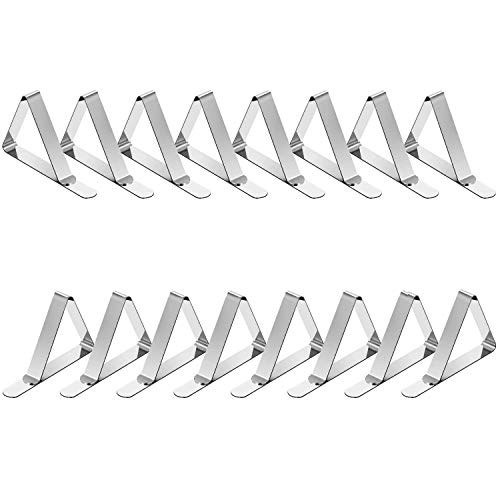 TriPole Tablecloth Clips 16 Pack Stainless Steel Table Cover Clamps Skirt Clips for Home Kitchen Restaurant Picnic Tables