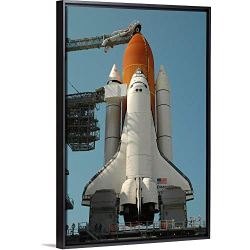 Space Shuttle Discovery in Full Launch Configuration Black Floating Frame Canvas Art, 22