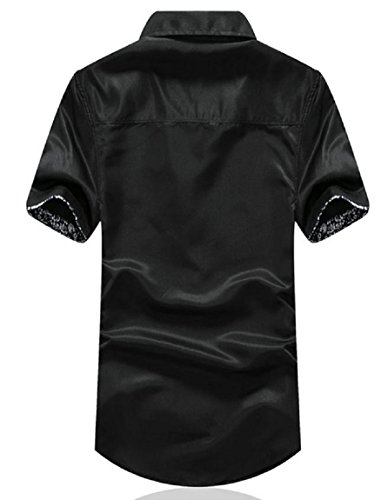 [meryueru(メリュエル)] 襟柄 カジュアル デザイン 半袖 シャツ オシャレ トップス ファッション 夏 秋 メンズ