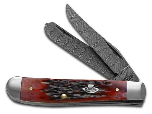 Damascus Mini Trapper - Case Knives Crimson Bone Ladder Damascus Mini Trapper Knife