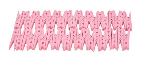 Home-X Pink Wood Clothespins, Perfect for Crafting and Laundry, Pink (Set of 40)