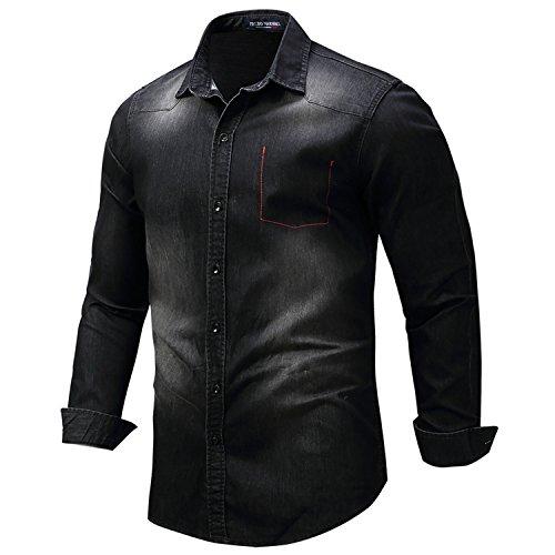 Price comparison product image NeeKer Jacket Winter Shirts Men Long Sleeve Denim Shirt Fake Pocket Plus Size 3XL Button Casual Shirt 112 Black EUR Size M