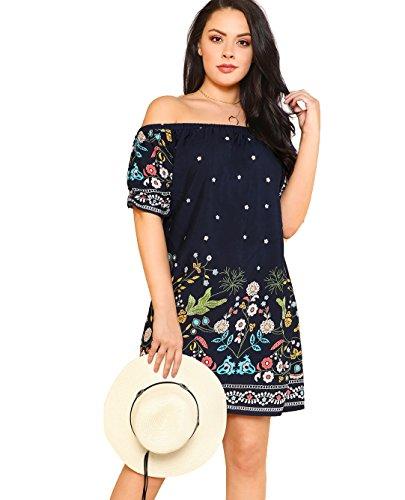 MakeMeChic Women's Plus Size Off Shoulder Floral Boho Summer Beach Dress Navy 2XL