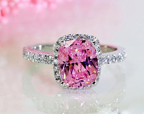 18k White Gold Gp Pink Austria Swarovski Crystal Lady Bridal Wedding Engagement Ring R24c (6) (Pink 18k Ring)