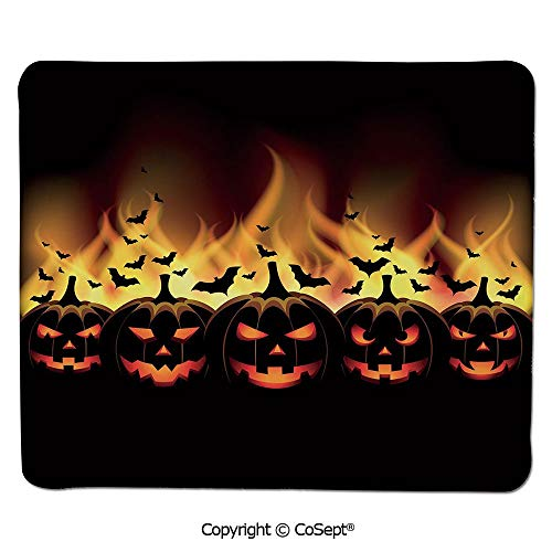 Mouse Pad,Happy Halloween Image with Jack o Lanterns on Fire with Bats Holiday Decorative,for Computer,Laptop,Home,Office & Travel(15.74
