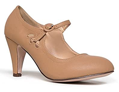 Mary Jane Pumps - Low Kitten Heels - Vintage Retro Round Toe Shoe with Ankle Strap - Pixie by J. Adams Beige Size: 5.5